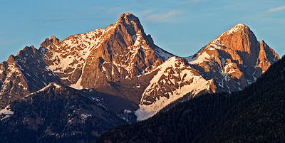 Pigeon and Turret Peaks, Needles Range - Last Light - San Juan Mts. - Colorado